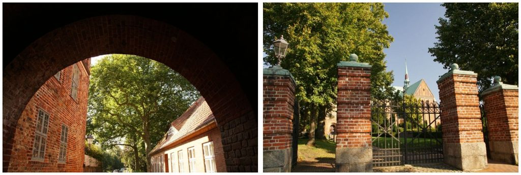 zwei Fotos als Collage: Eingang zum Dom und Torbogen beim Dom